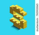 realistic  gold 3d isometric... | Shutterstock .eps vector #785903065