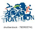 triathlon race signs.  three... | Shutterstock .eps vector #785905741