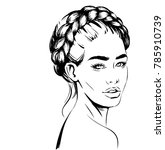 woman with braid around head.... | Shutterstock .eps vector #785910739