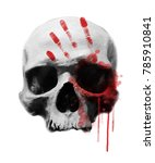 bloody skull illustration. | Shutterstock . vector #785910841
