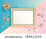 empty photo frame and many... | Shutterstock .eps vector #785912155
