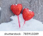 bright red hearts. in white... | Shutterstock . vector #785913289