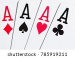 Small photo of combination four ace popular card game poker