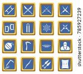 Ninja Tools Icons Set In Blue...