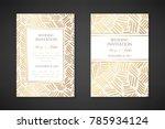 gold ink lines. wedding... | Shutterstock .eps vector #785934124