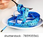 Small photo of tape, fork, measure, weight, light, diet, plate, health, loose, loosing, isolated, conceptual, dieting, background, closeup, white, healthy, dinner, eating, concept, portrait, yellow, lifestyle