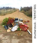 Small photo of Europe UK Lincolnshire Mablethorpe 25th December 2017. Fly tipping rubbish on beach headland.