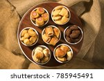mixed brazilian snack on the... | Shutterstock . vector #785945491