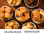 mixed brazilian snack on the... | Shutterstock . vector #785945539