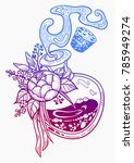 hand drawn magic bottle. vial... | Shutterstock .eps vector #785949274