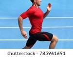 athlete runner running on... | Shutterstock . vector #785961691