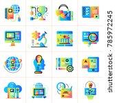 flat icon set of online... | Shutterstock .eps vector #785972245