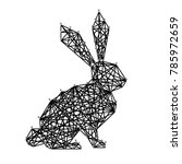 silhouette of easter rabbit... | Shutterstock .eps vector #785972659