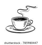cup of coffee. ink sketch...   Shutterstock .eps vector #785980447