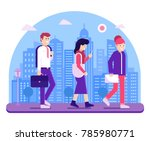 modern people go to work on... | Shutterstock .eps vector #785980771