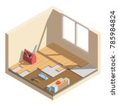 isometric low poly home room... | Shutterstock .eps vector #785984824