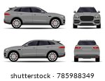 big gray car. front view  side... | Shutterstock .eps vector #785988349