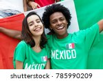 two cheering mexican soccer... | Shutterstock . vector #785990209