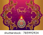 happy diwali festival card with ... | Shutterstock .eps vector #785992924