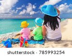 mother with twins on the... | Shutterstock . vector #785993254