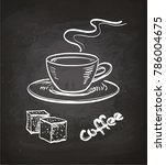 cup of coffee and sugar cubes....   Shutterstock .eps vector #786004675