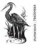 digital illustration of heron   Shutterstock .eps vector #786004864