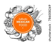mexican food sketch label in... | Shutterstock .eps vector #786008269