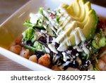 shrimp avocado salad with... | Shutterstock . vector #786009754