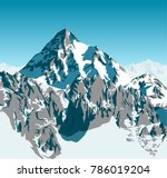 vector alpine landscape with... | Shutterstock .eps vector #786019204