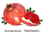 fresh pomegranate isolated on... | Shutterstock . vector #786036601
