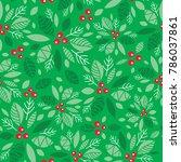 vector mint green holly berry...   Shutterstock .eps vector #786037861
