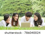 group of asian students laying... | Shutterstock . vector #786040024