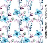 seamless pattern with stylized... | Shutterstock . vector #786040375