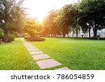 beautiful park with sunrise in... | Shutterstock . vector #786054859
