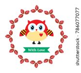 cute owl with love vector | Shutterstock .eps vector #786077077