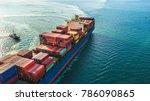 aerial view cargo ship ... | Shutterstock . vector #786090865