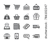 shopping icon set | Shutterstock .eps vector #786102247