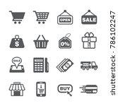 shopping icon set | Shutterstock .eps vector #786102247