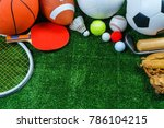 sports equipment on green grass ... | Shutterstock . vector #786104215