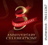 3rd years anniversary... | Shutterstock .eps vector #786111367