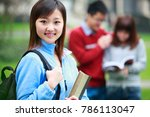 group of asian college students ... | Shutterstock . vector #786113047