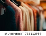 clothing items on a rack in... | Shutterstock . vector #786113959