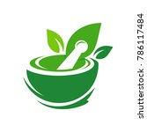 pharmacy logo eco green design... | Shutterstock .eps vector #786117484