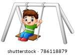 cartoon little boy playing... | Shutterstock .eps vector #786118879