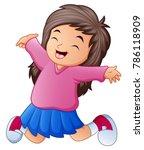cartoon happy little girl... | Shutterstock .eps vector #786118909