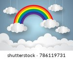 paper cloud with rainbow.vector ... | Shutterstock .eps vector #786119731