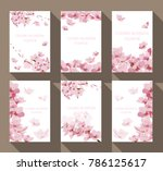 cherry blossom frame and border ... | Shutterstock .eps vector #786125617