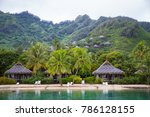 tropical bungalows on a lagoon... | Shutterstock . vector #786128155