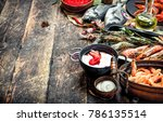 different seafood with shrimps... | Shutterstock . vector #786135514
