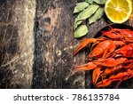 cooked fresh crayfish. on a... | Shutterstock . vector #786135784